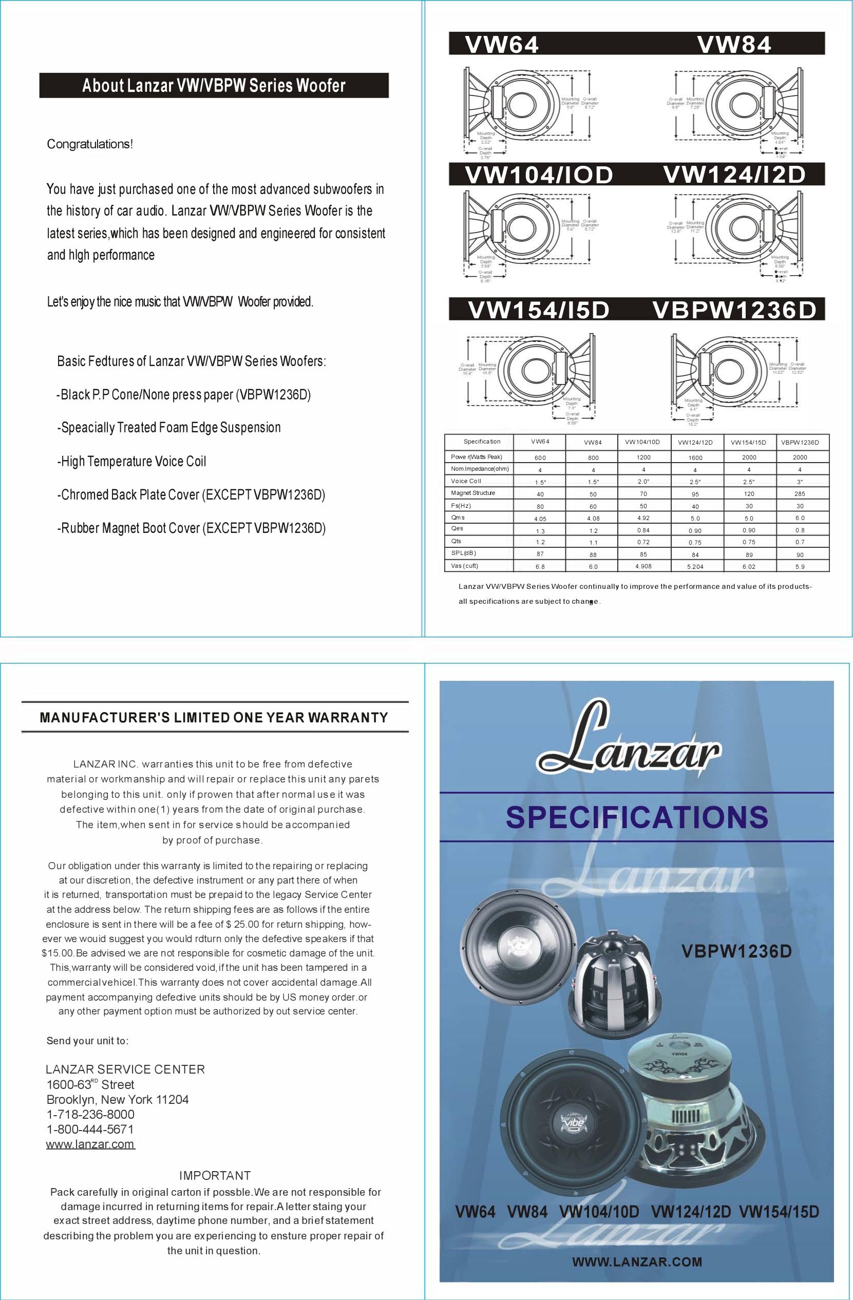 pdf for Lanzar Subwoofer Vibe VW104 manual