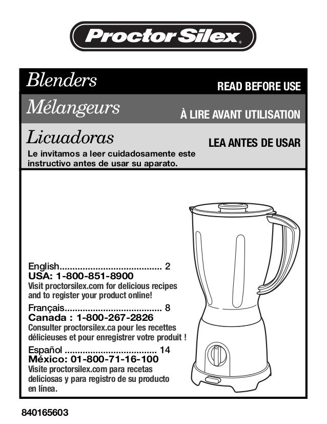 pdf for ProctorSilex Blender 58131PH manual