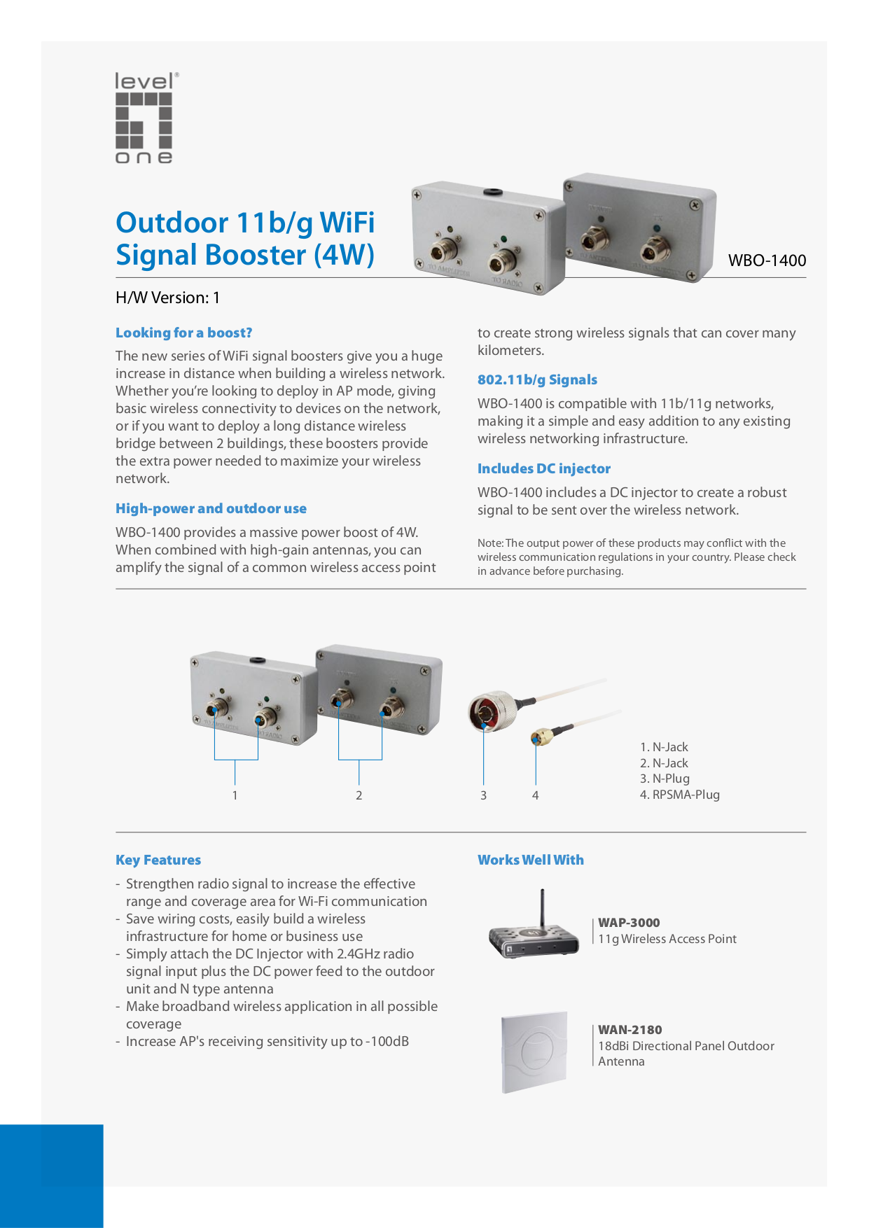 pdf for LevelOne Other WBO-1400 WiFi Signal Boosters manual