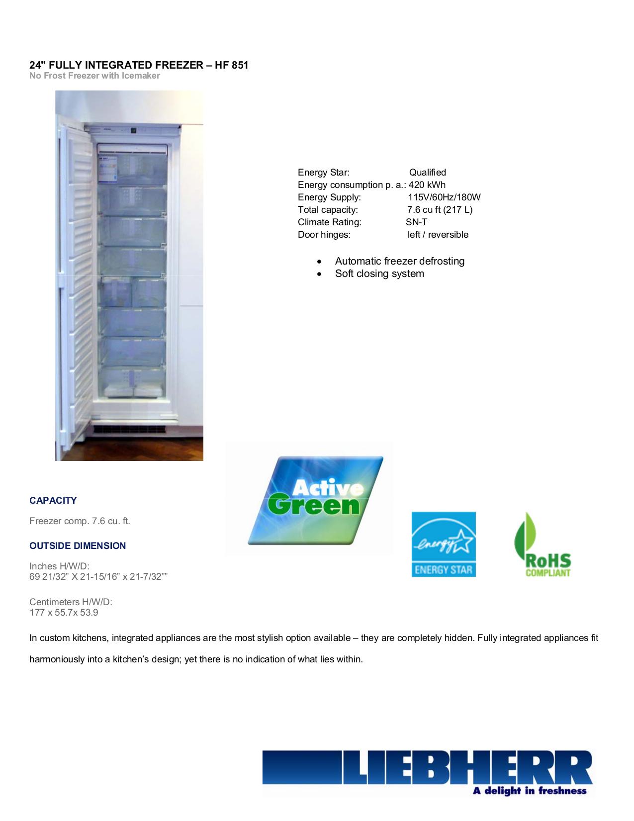 pdf for Liebherr Freezer HF851 manual
