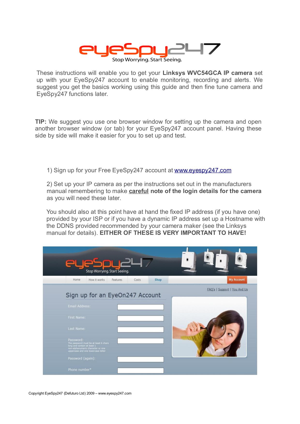 pdf for Linksys Security Camera WVC54G manual