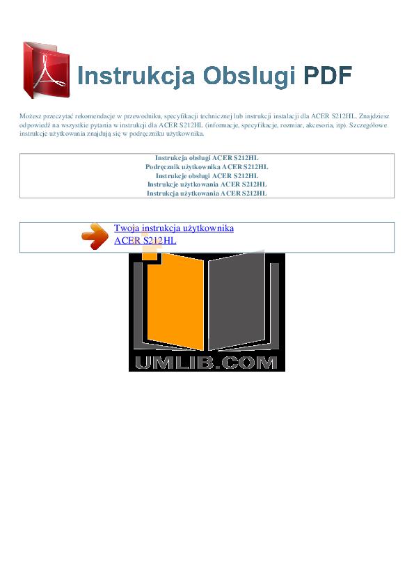 pdf for Acer Monitor S212HL manual