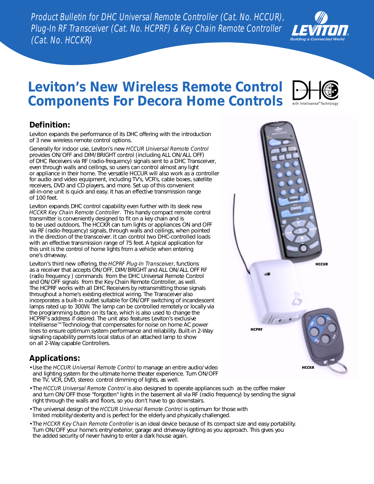 pdf for Leviton Remote Control HCCUR manual