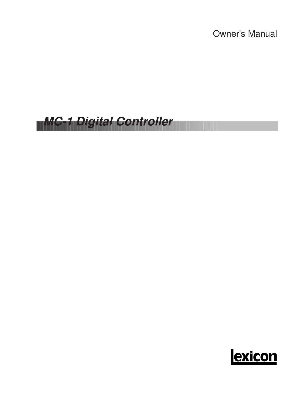 pdf for Lexicon Receiver MC-4 manual
