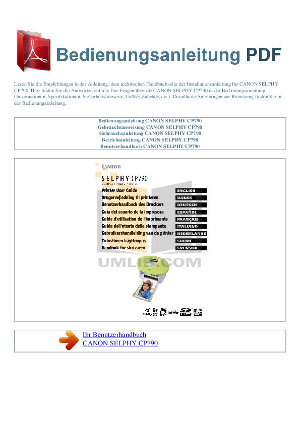 pdf for Canon Printer SELPHY CP790 manual