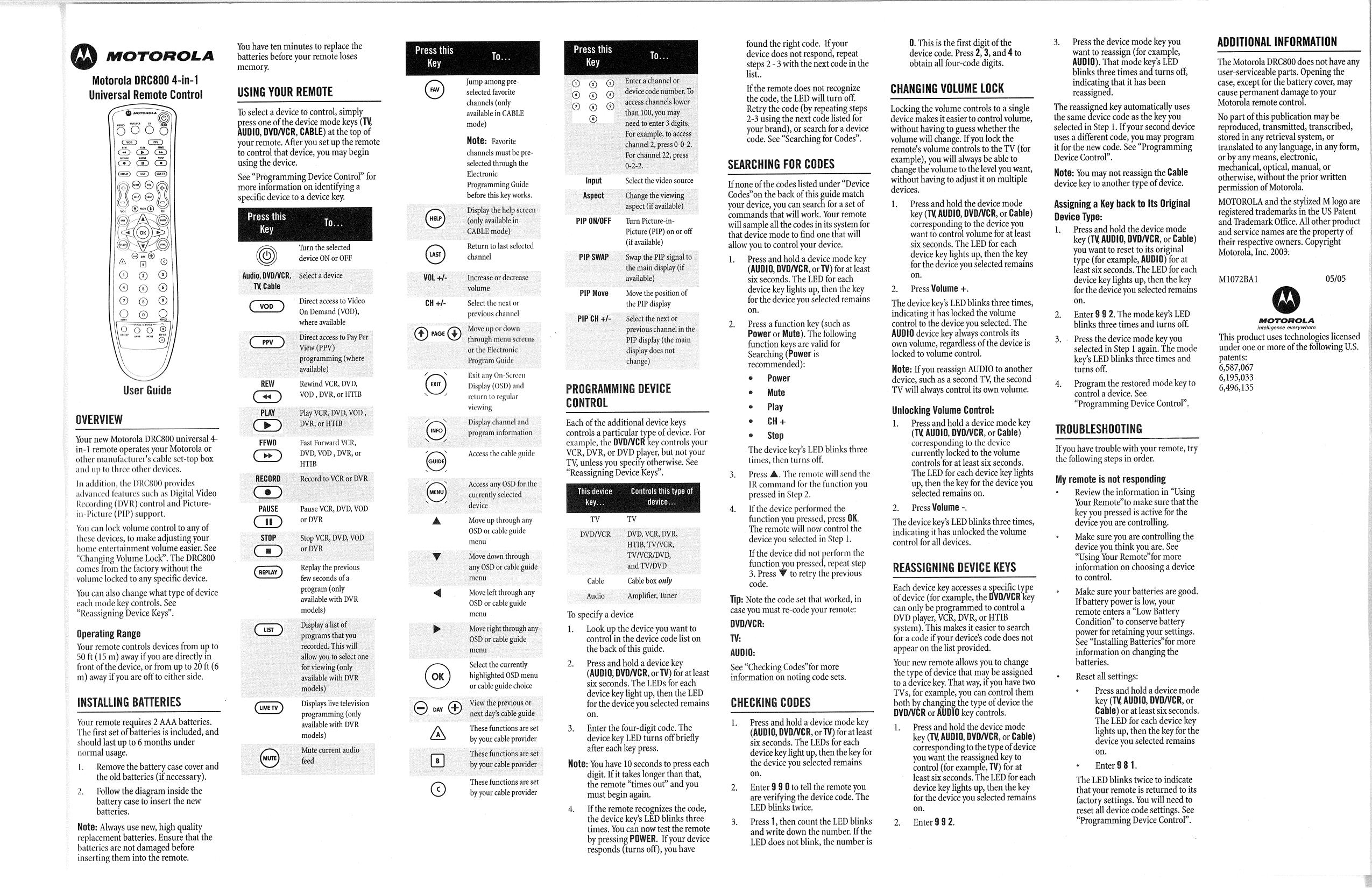 Motorola dcr800 remote control manual