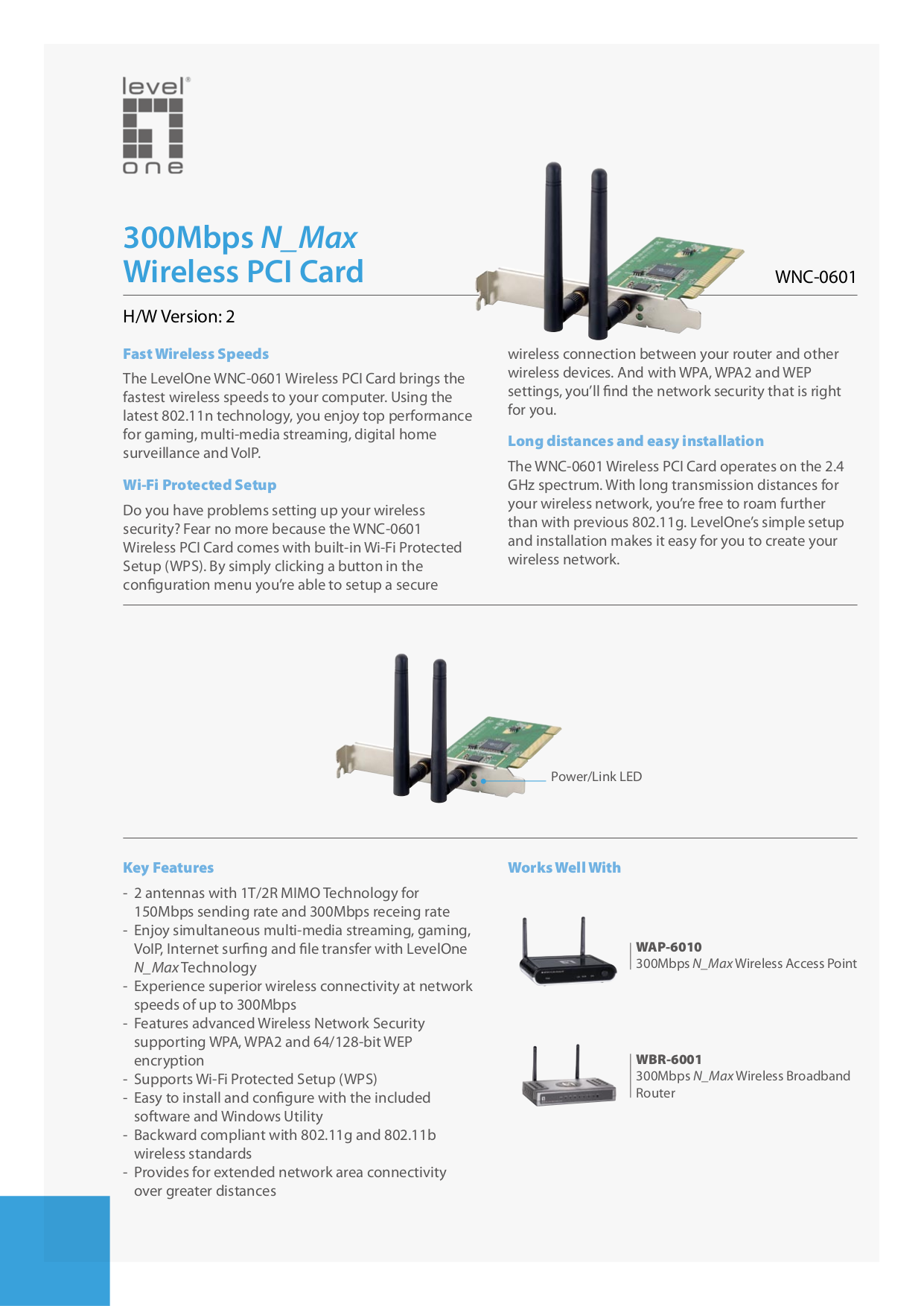 pdf for LevelOne Wireless Router WBR-6001 manual