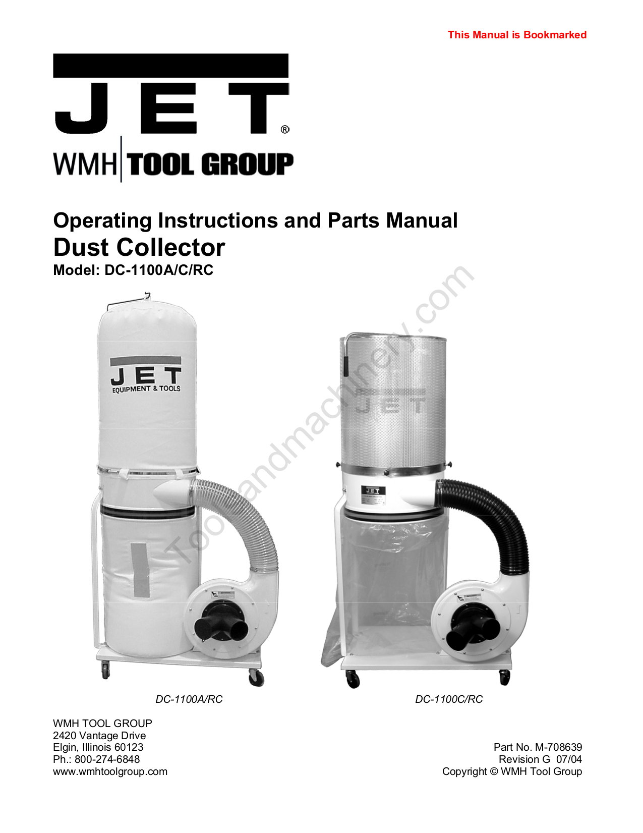 pdf for Jet Vacuum DC-1100RC manual