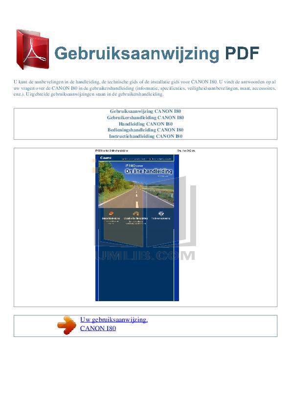 pdf for Canon Printer i80 manual