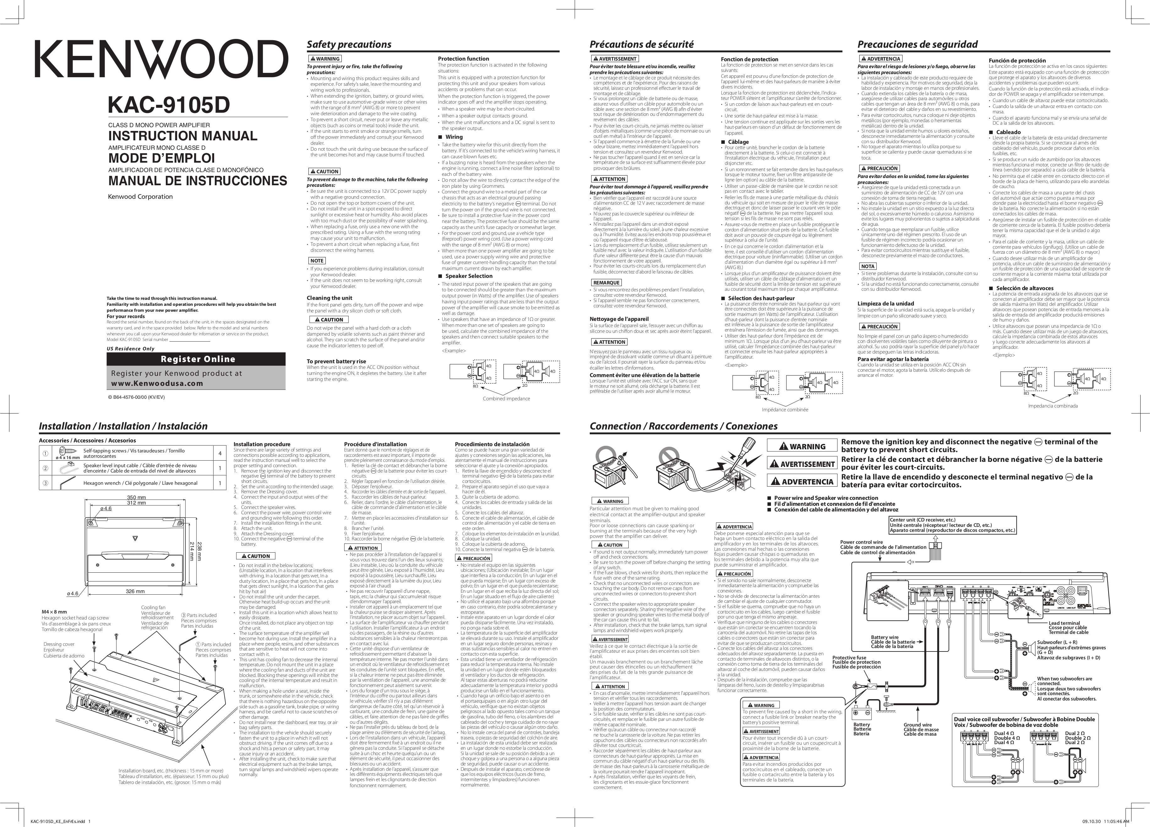Kenwood kac 7201 Manual on