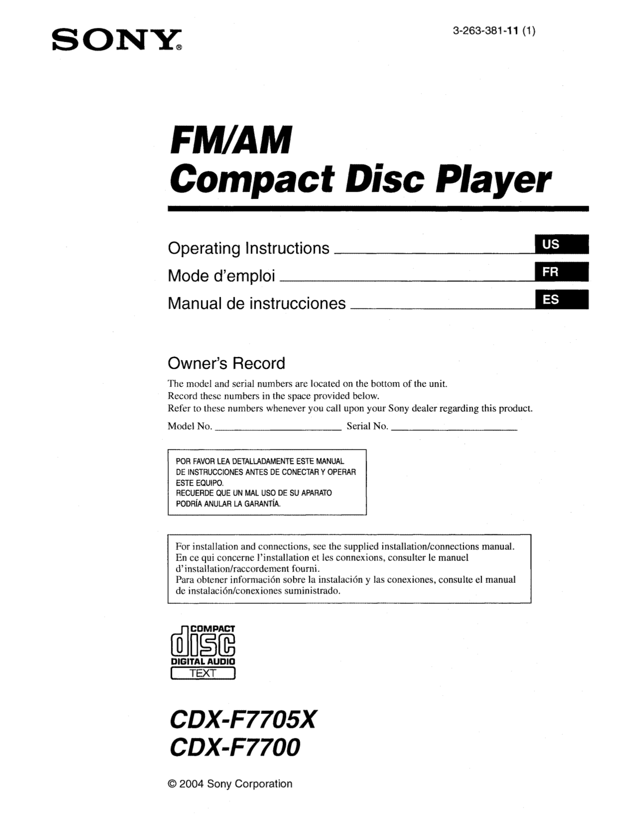 Sony Cdx F7700 Wiring Diagram And Schematics F7710 Pdf For Car Receiver Manual