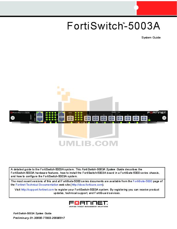 pdf for Fortinet Switch FortiSwitch FortiSwitch-5003 manual