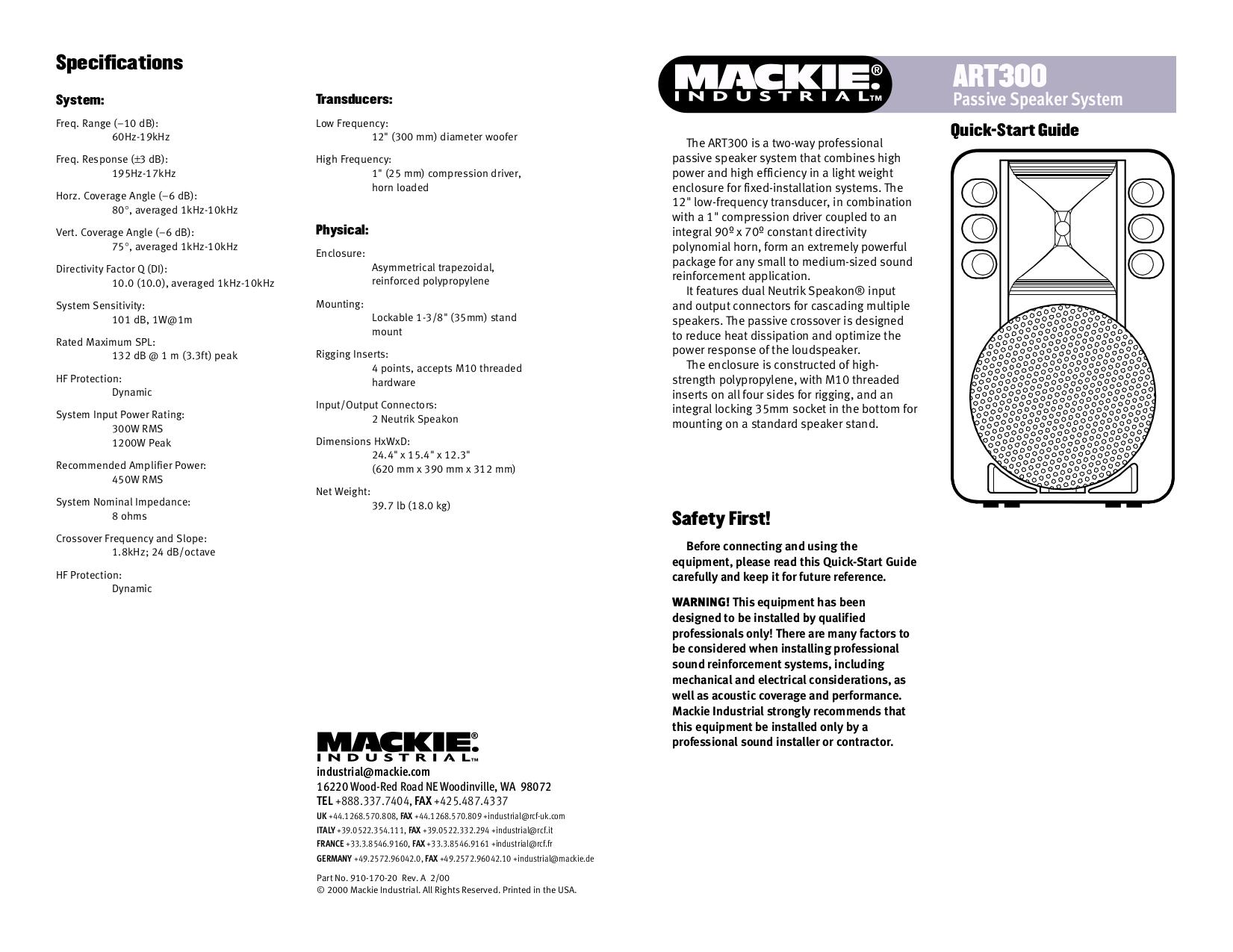 pdf for Mackie Speaker System Art Series ART300A manual