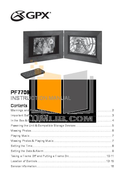 pdf for GPX Digital Photo Frame PF7708 manual