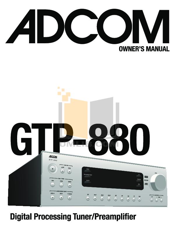 pdf for Adcom DVD Players GDV-850 manual