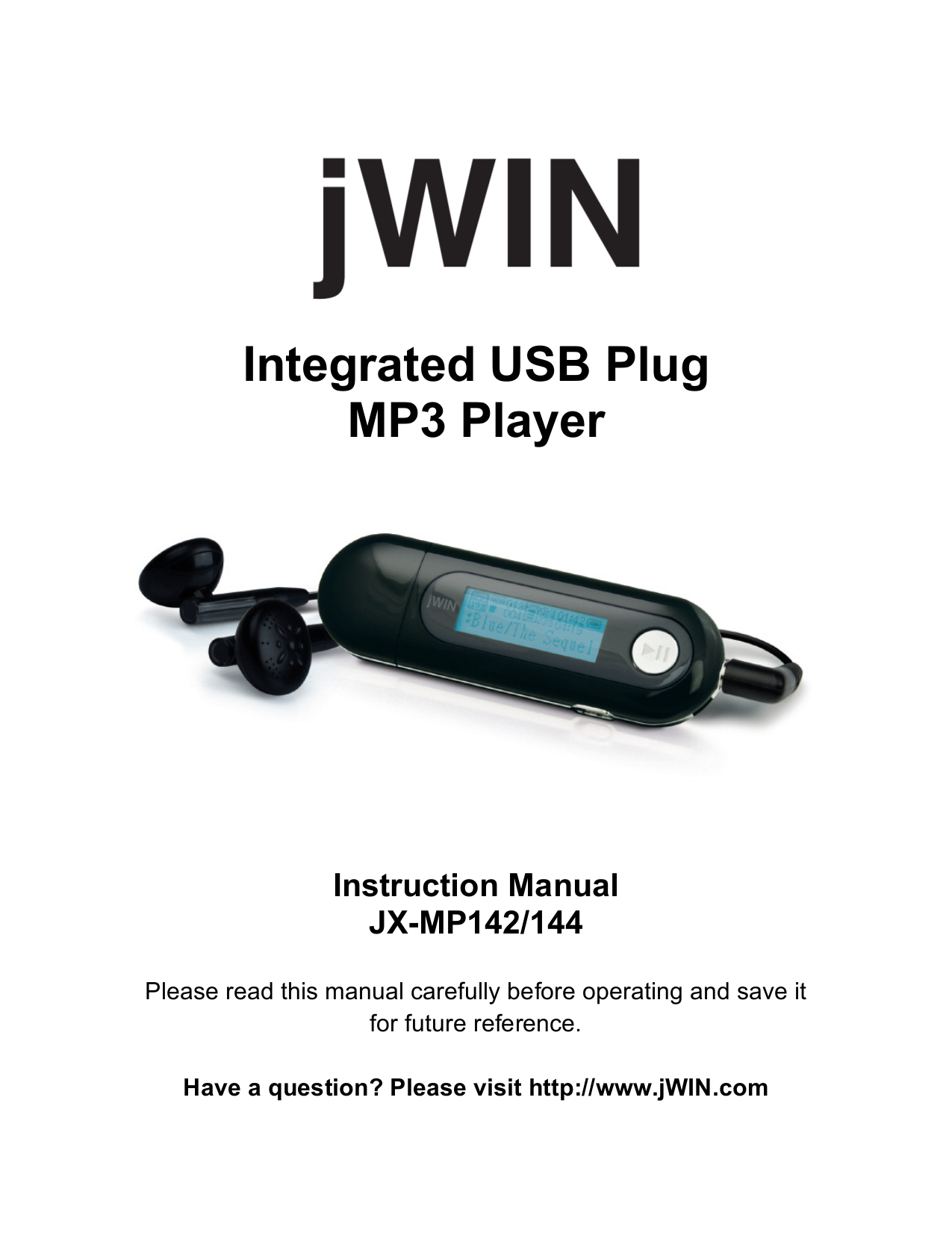 pdf for jWIN MP3 Player JX-MP144 manual