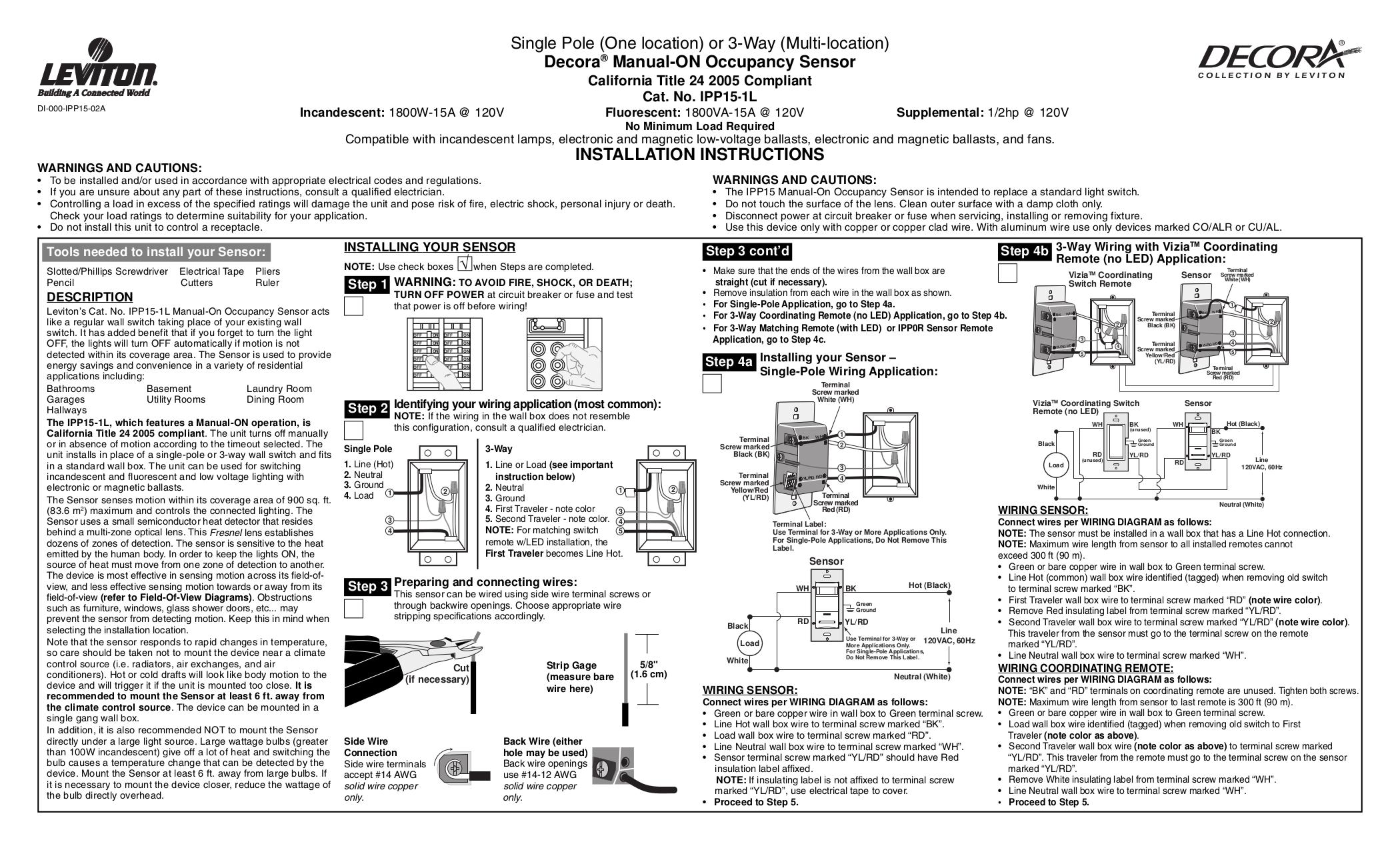 Free Pdf For Leviton Ipp15 1l Occupancy Sensor Other Manual Rh Umlib Com  Sensors Lighting Ceiling
