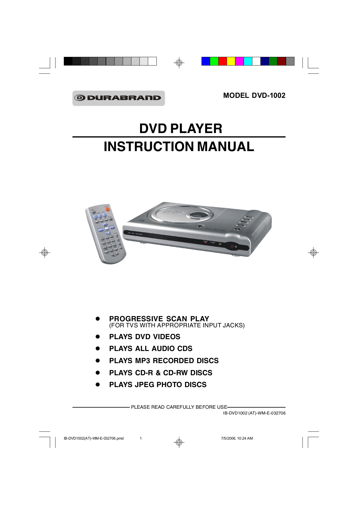 pdf for Lenoxx DVD Players DVD-1002 manual