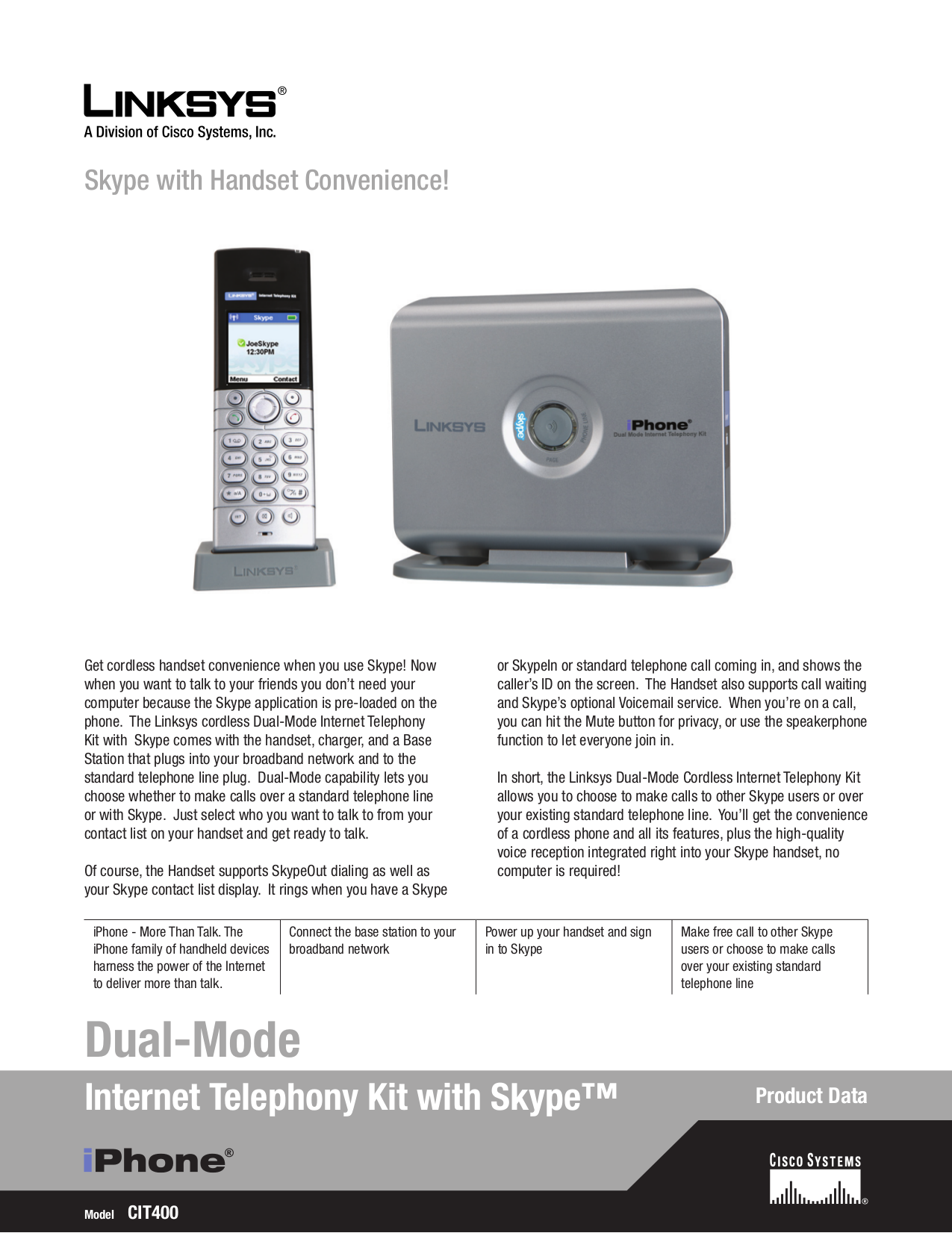 pdf for Linksys Telephone CIT400 manual