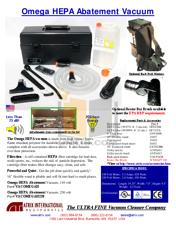 pdf for Atrix Vacuum Omega Backpack manual