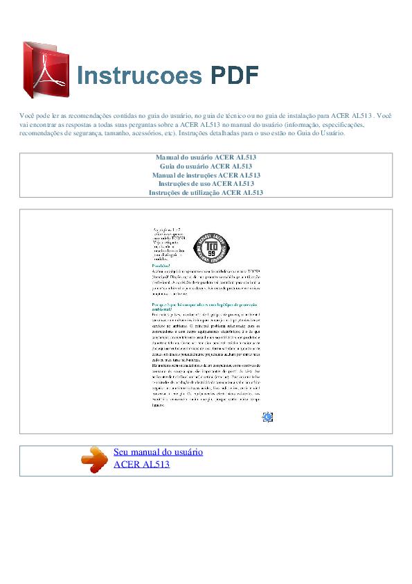 pdf for Acer Monitor AL513 manual