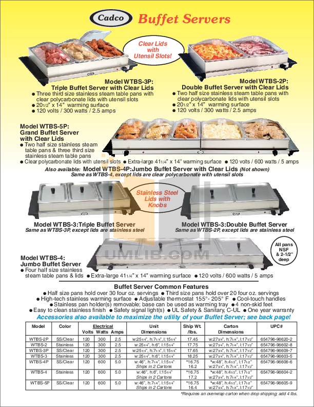 pdf for Cadco Other WTBS-2 Buffet Servers manual