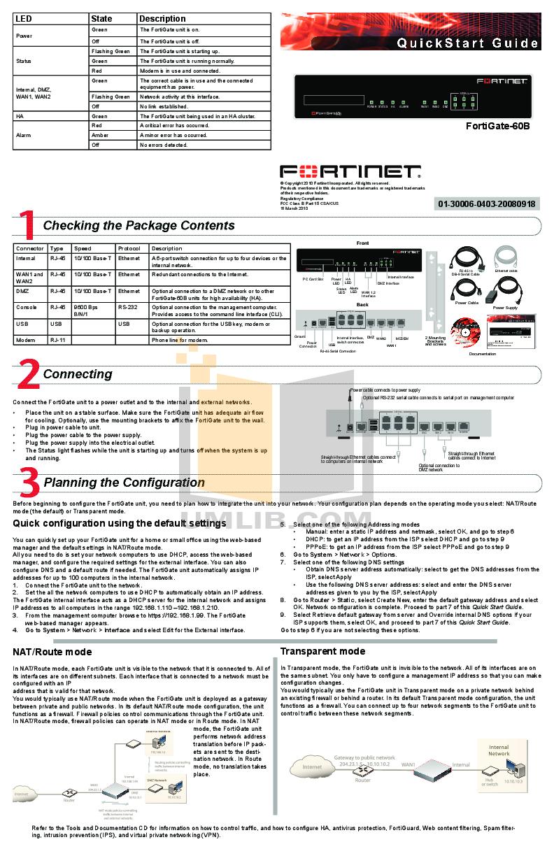 Fortinet fortigate 60c user Manual