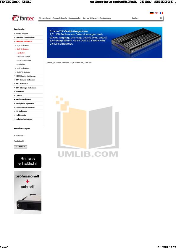 pdf for Fantec Other MR-35DUF Servers manual