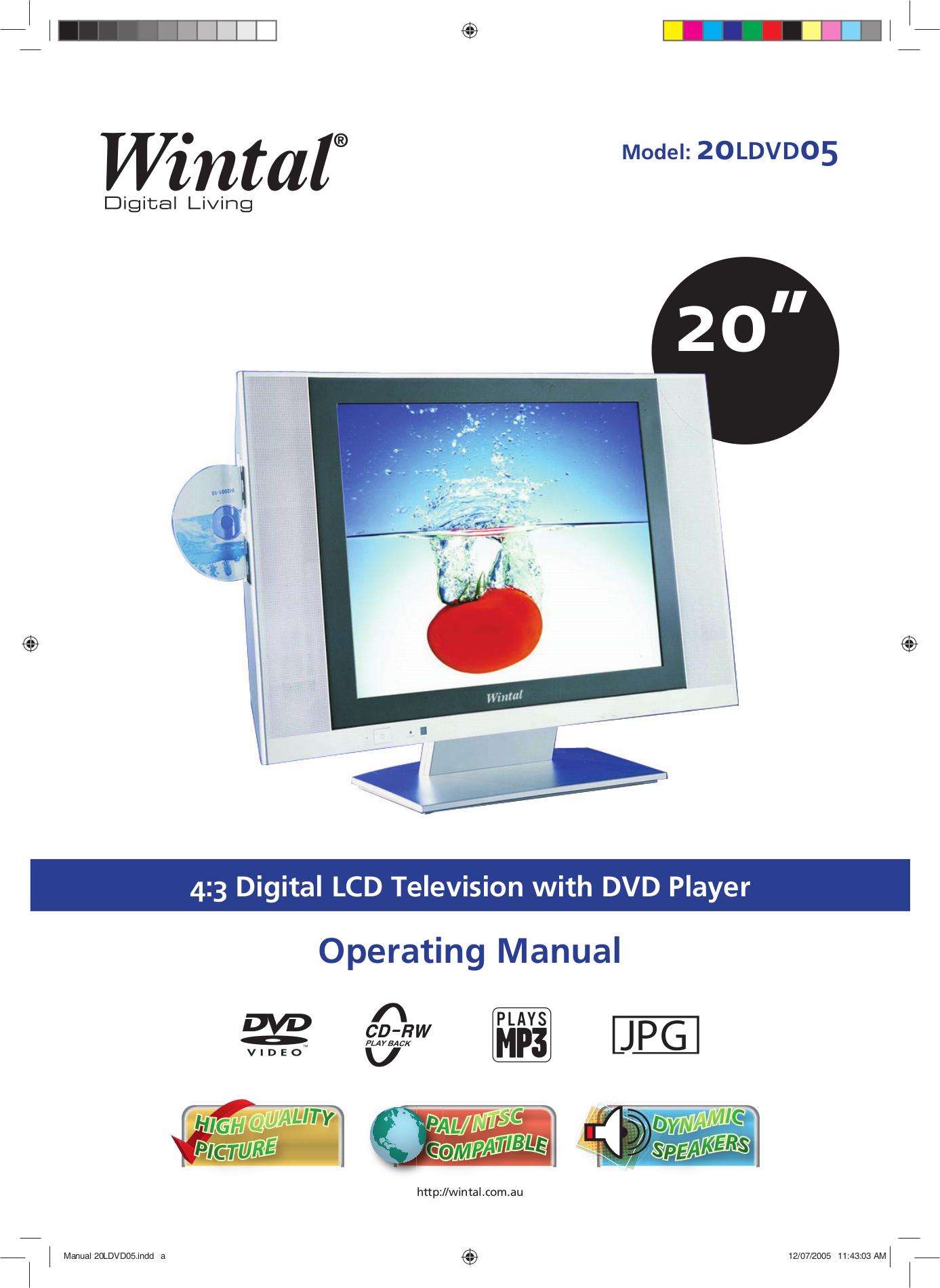 pdf for Wintal TV 20LDVD05 manual