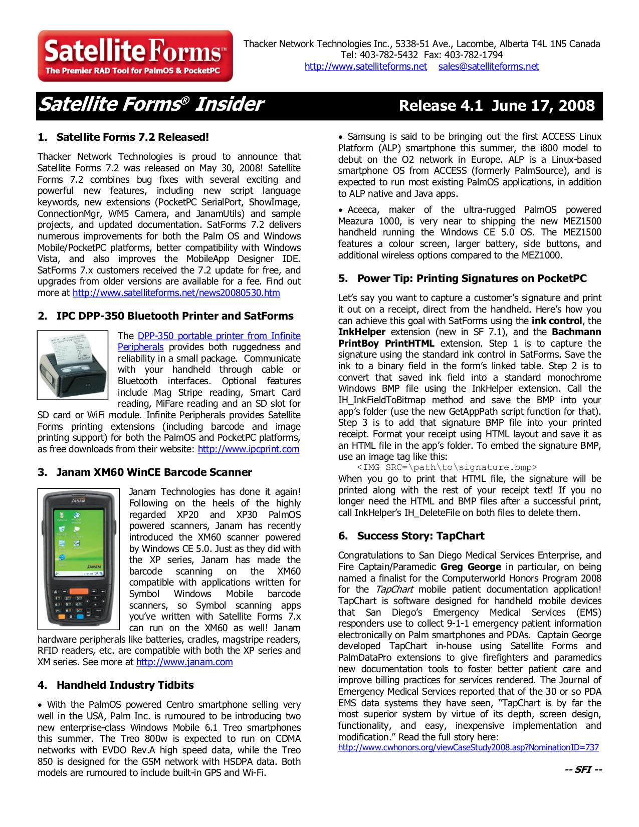 pdf for Janam PDA XM60 manual