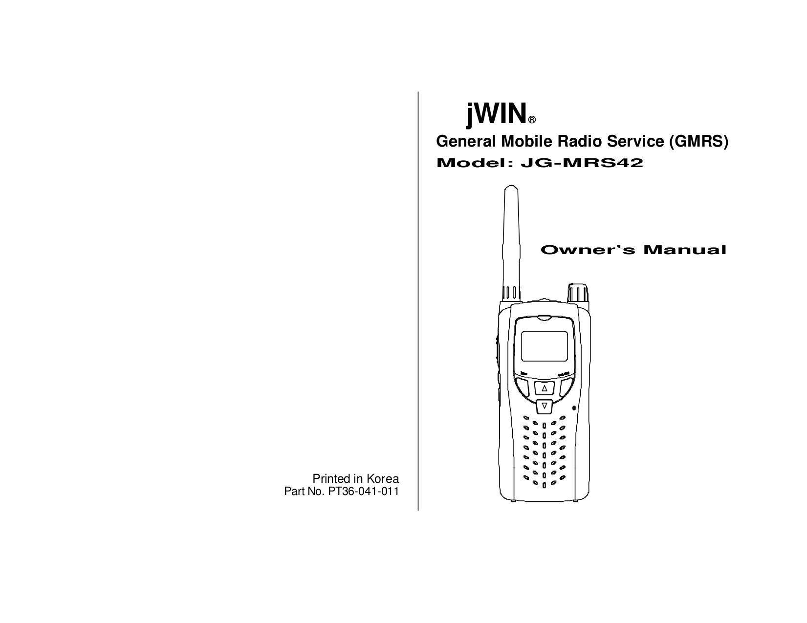 pdf for jWIN Receiver JG-MRS42 manual