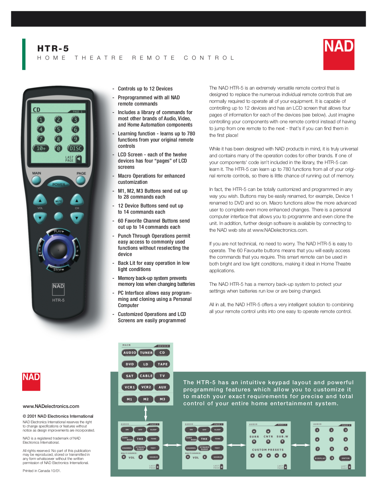 pdf for NAD Remote Control HTR-5 manual