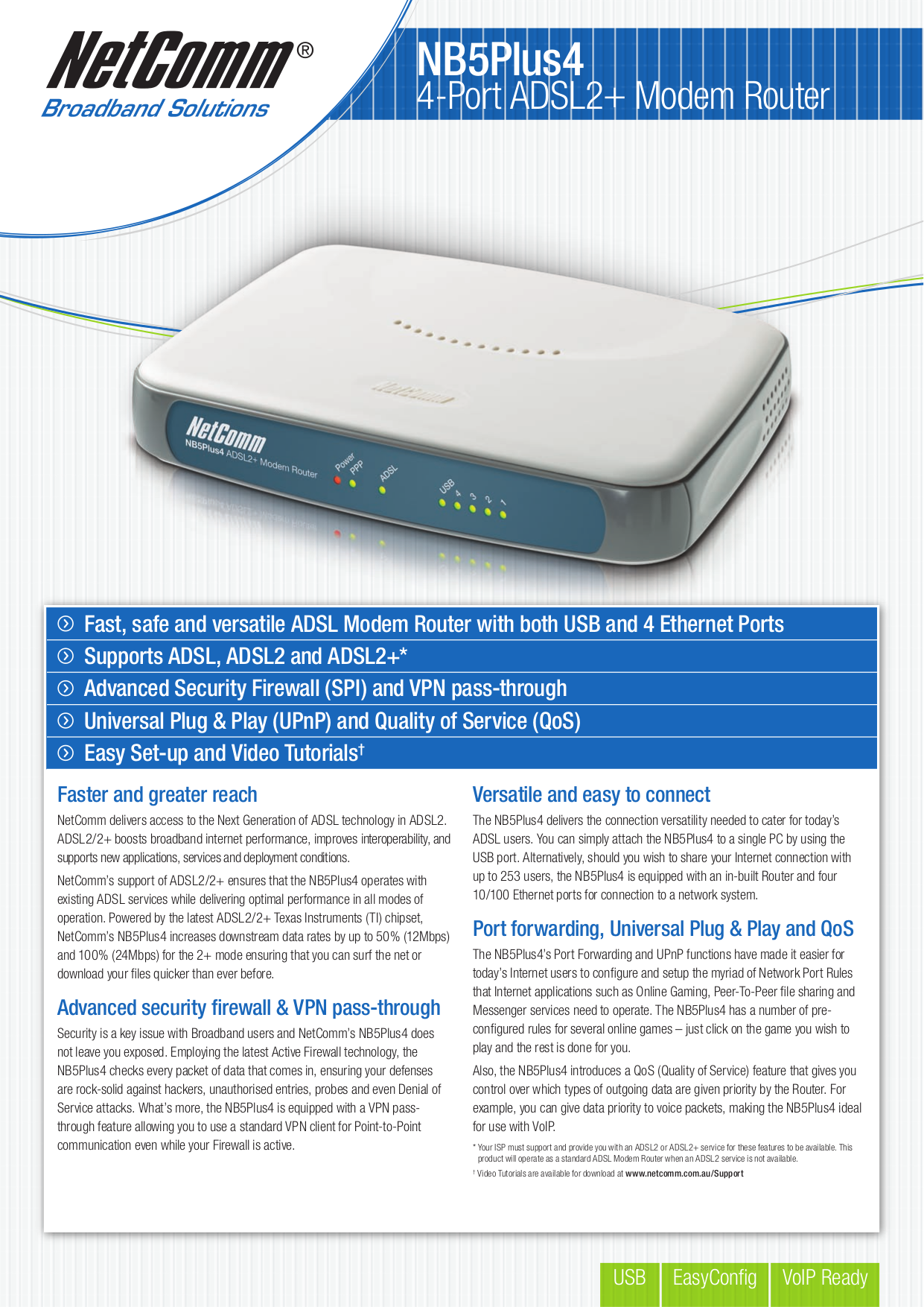 pdf for Netcomm Router NB5Plus4 manual