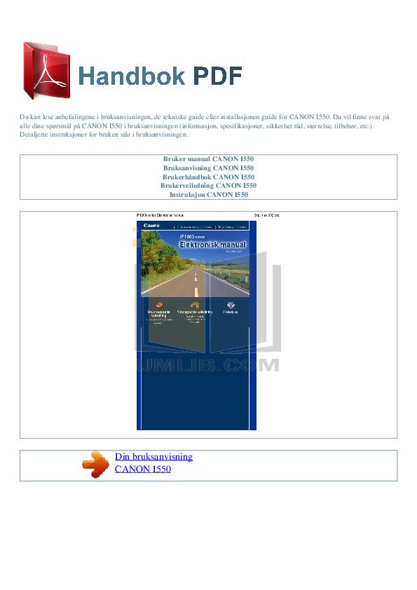 pdf for Canon Printer i550 manual