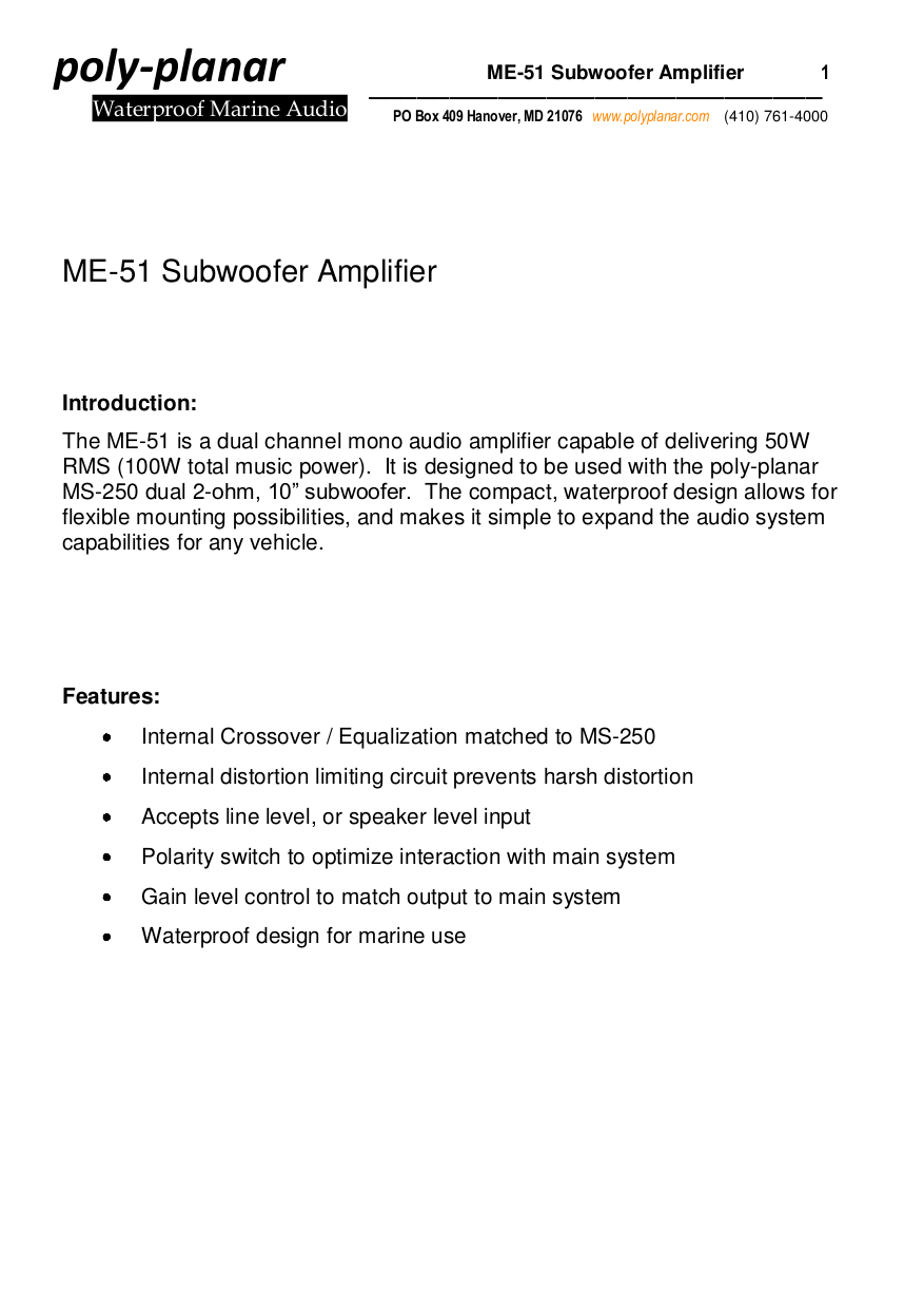 Download Free Pdf For Poly Planar Ms 250 Subwoofer Manual Simple Audio Amplifier Circuits