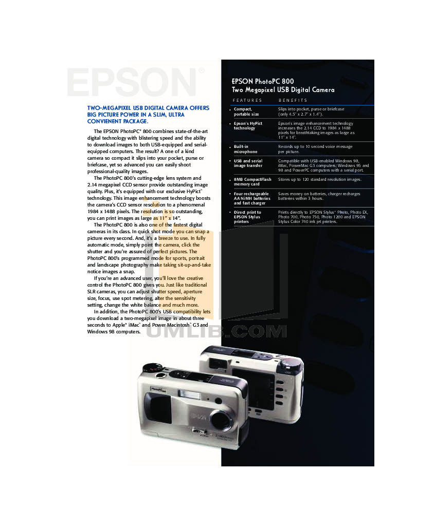 pdf for Epson Digital Camera PhotoPC PhotoPC manual