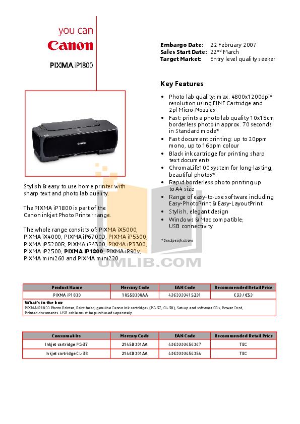 pdf for Canon Printer PIXMA iP1800 manual