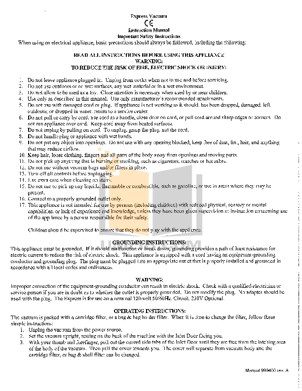 pdf for Atrix Vacuum Express Safety Vacuum manual