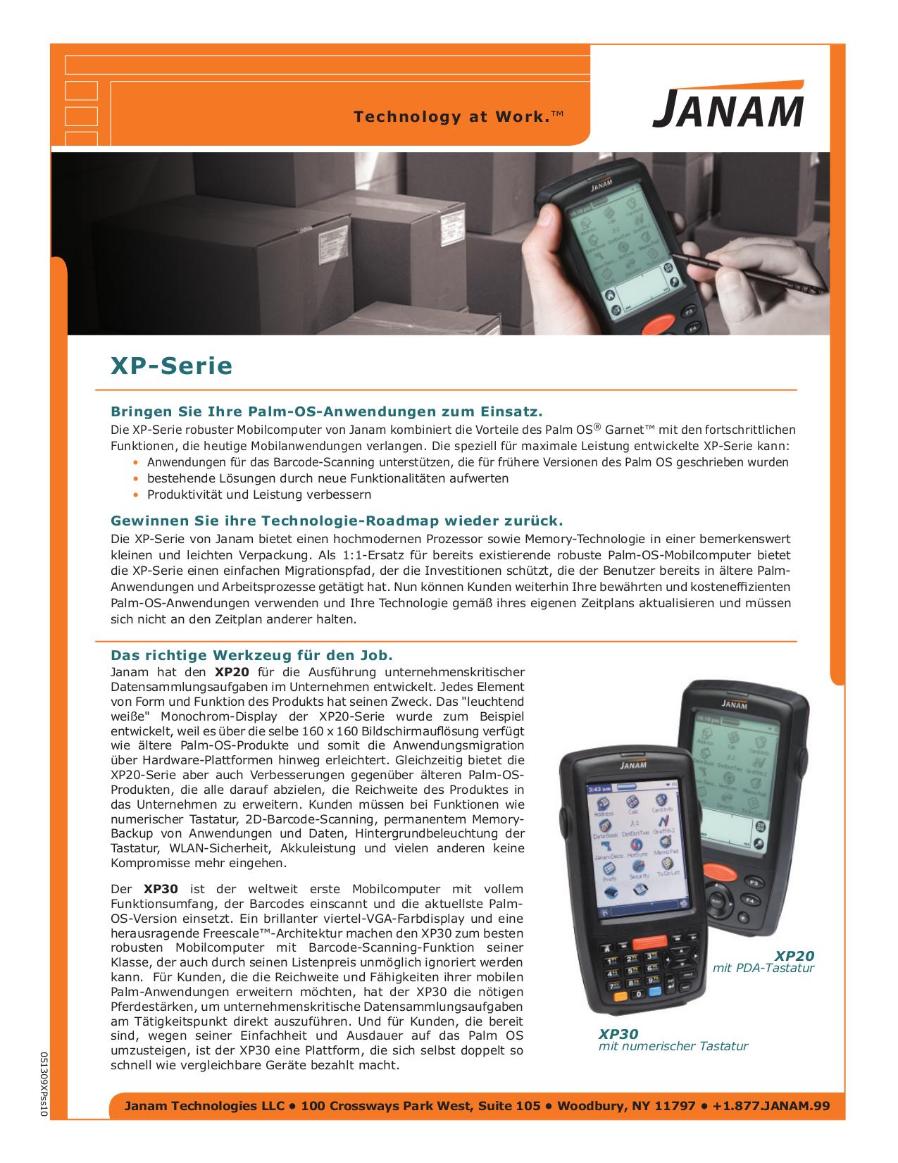 pdf for Janam PDA XP20 manual