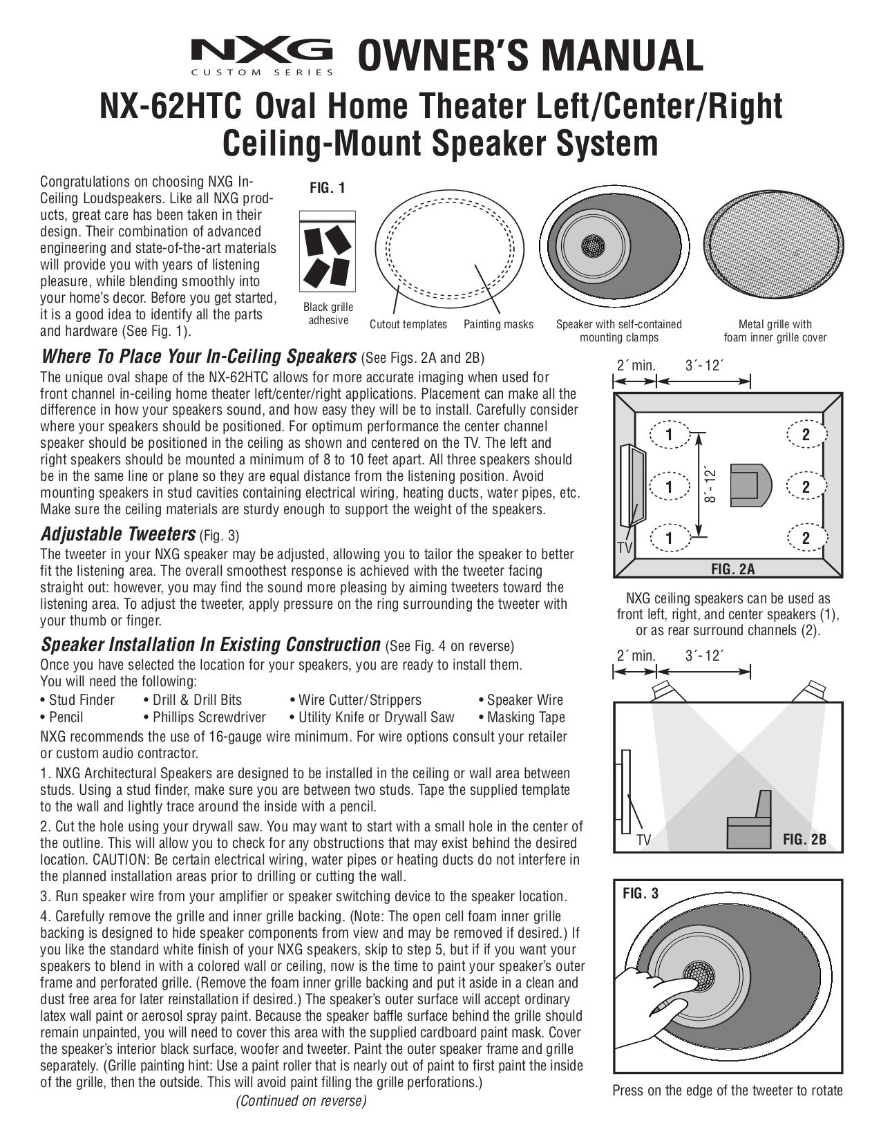 pdf for Nxg Speaker 62HTC manual