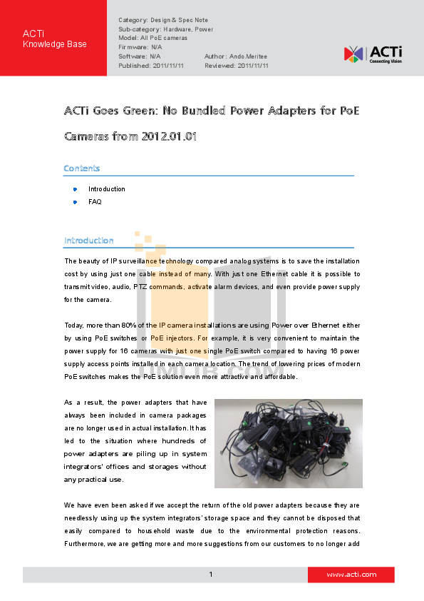 pdf for ACTi Security Camera TCM-3401 manual
