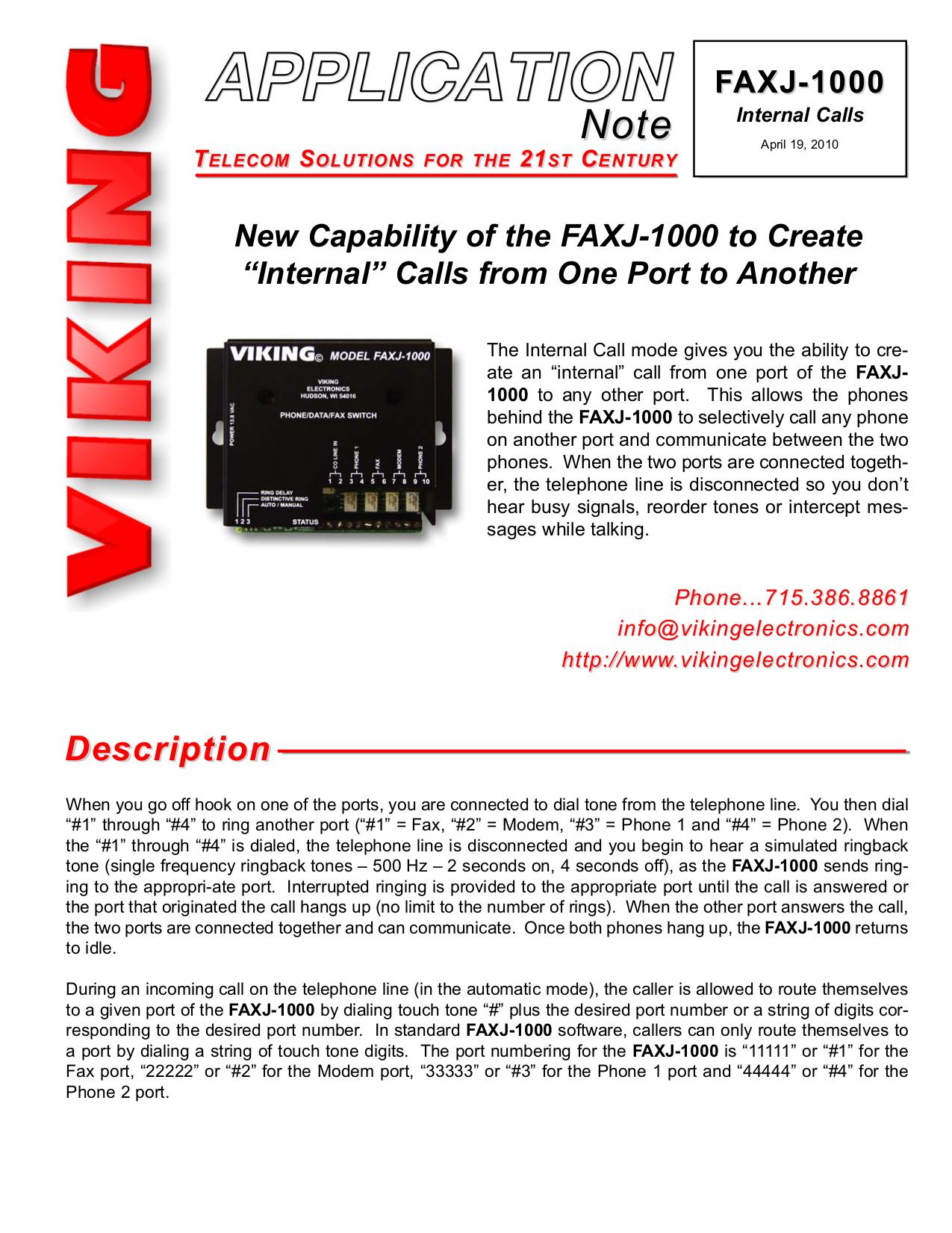 pdf for Viking Switch FAXJ-1000 manual