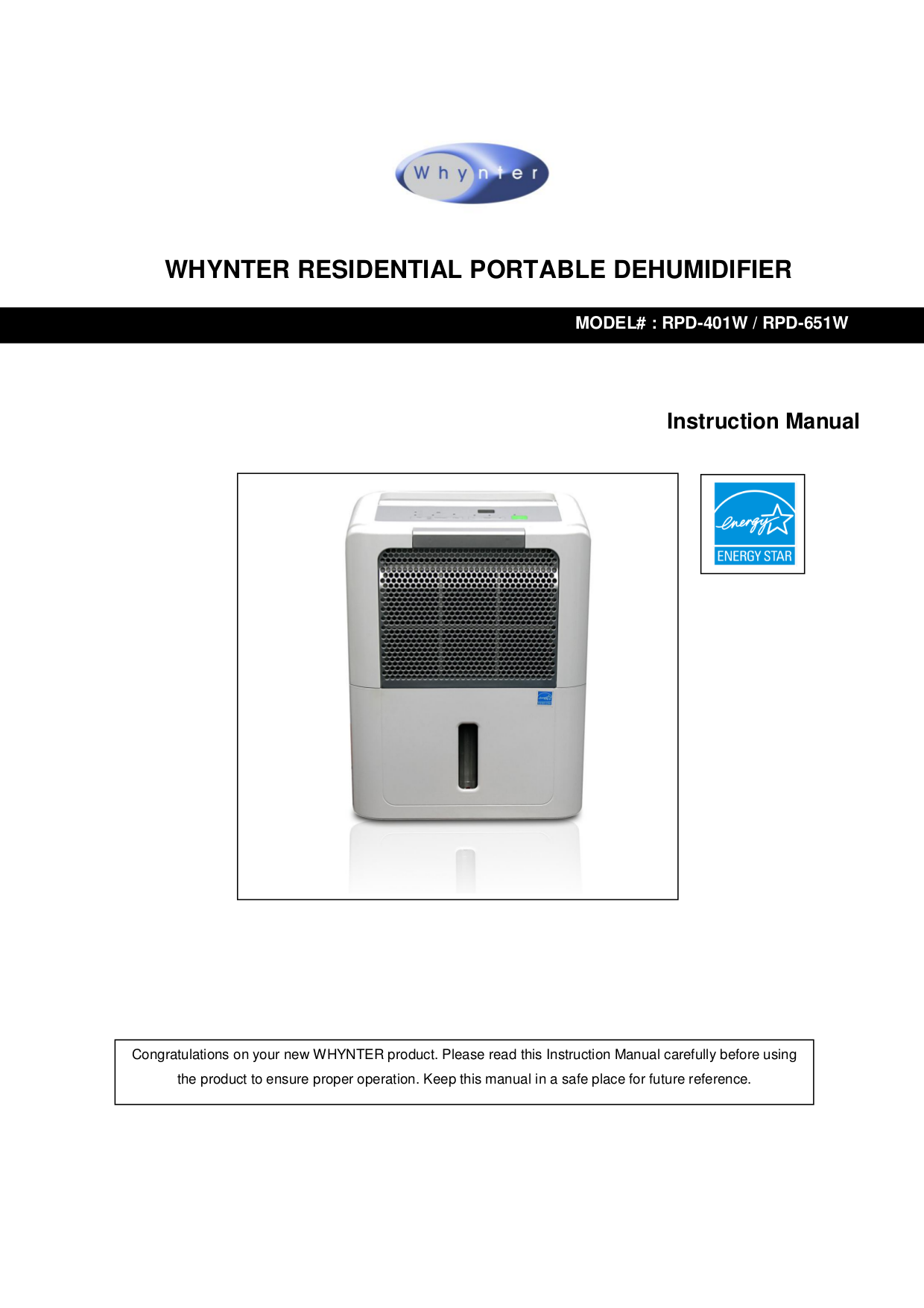 pdf for Whynter Dehumidifier RPD-651W manual