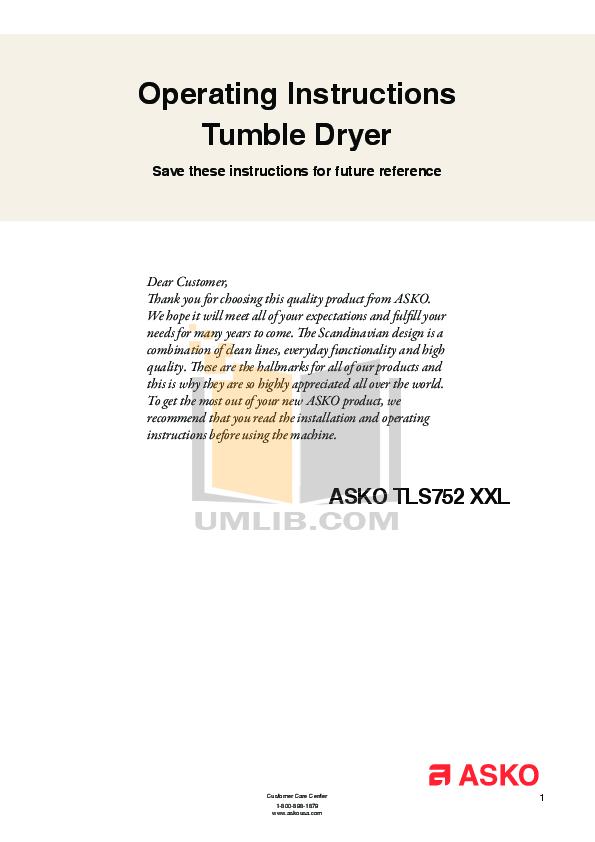 pdf for Asko Dryer TLS752XXL manual
