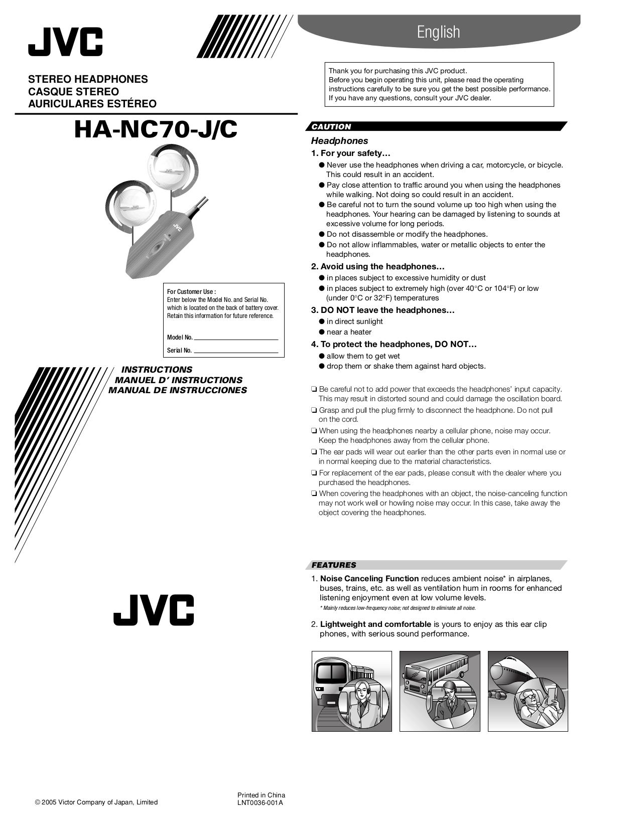 pdf for JVC Headphone HA-NC70 manual