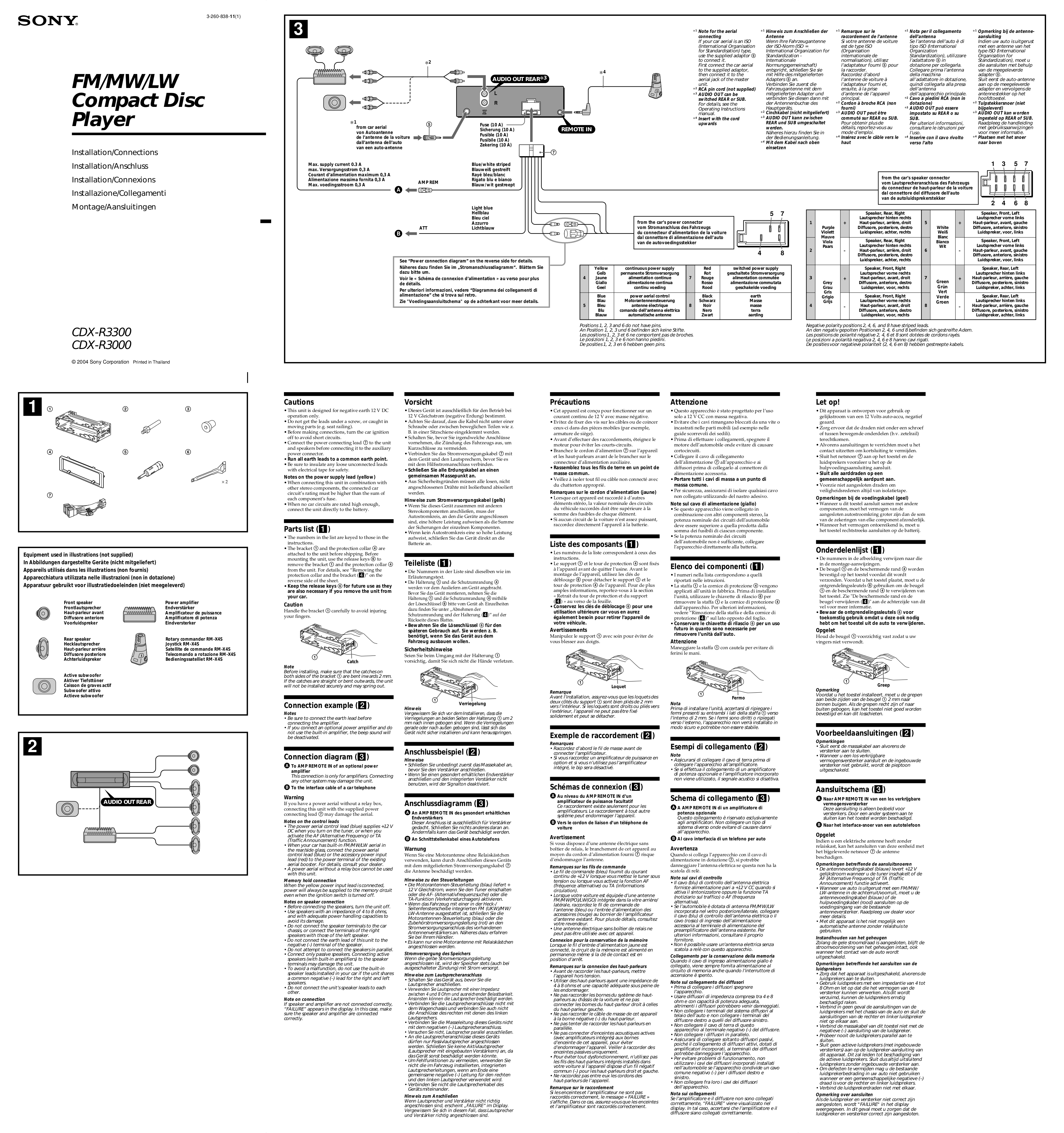Sony Cdx R3000 Wiring Diagram 29 Images Also Gt420ip On L600x Pdf For Car Receiver Manual