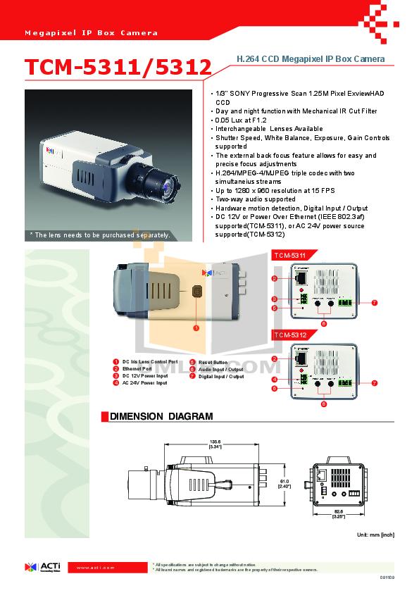 pdf for ACTi Security Camera TCM-5311 manual