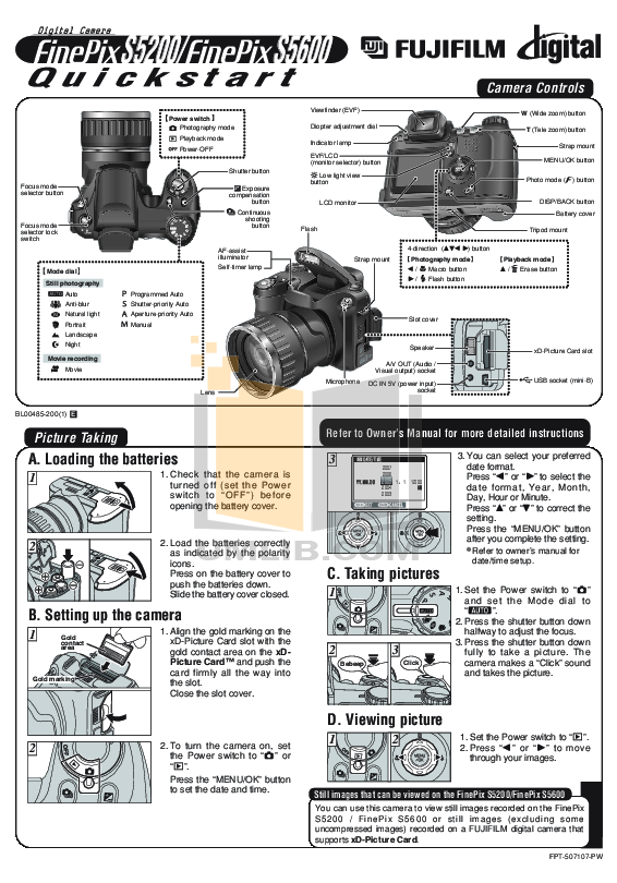 Fujifilm Finepix S5600 manual Pdf