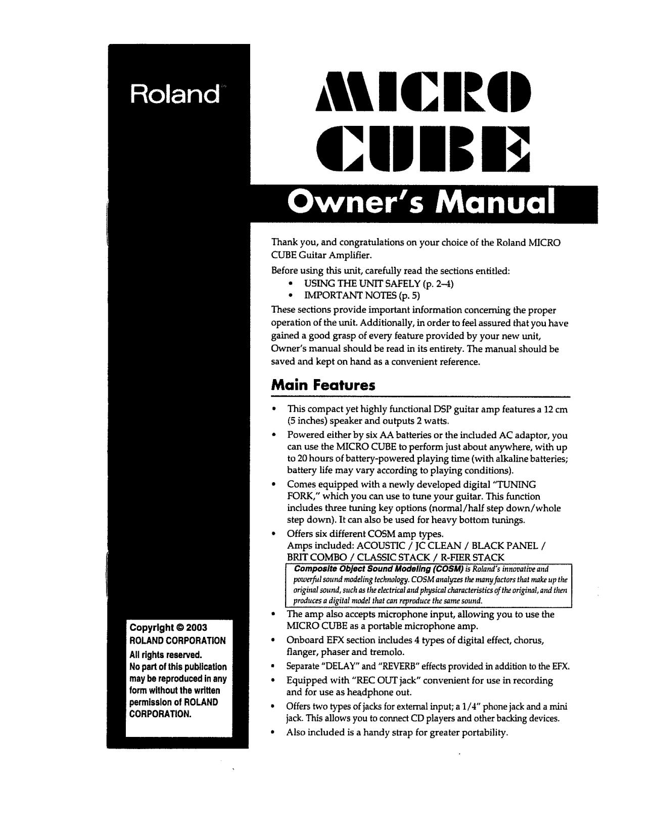 Roland Micro Cube Manual Pdf Download