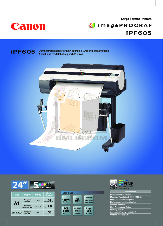 pdf for Canon Printer imagePROGRAF iPF605 manual